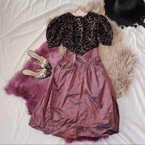 Vtg 80s Velvet Abstract Print Cocktail Dress